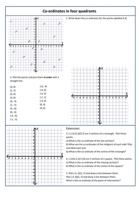 Coordinates In 4 Quadrants By Kittykat102  Teaching Resources Tes