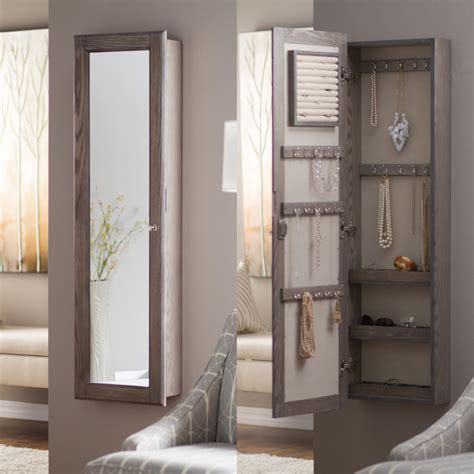 Wall Mount Jewelry Mirror Armoire by Wall Mounted Locking Mirrored Jewelry Armoire Driftwood