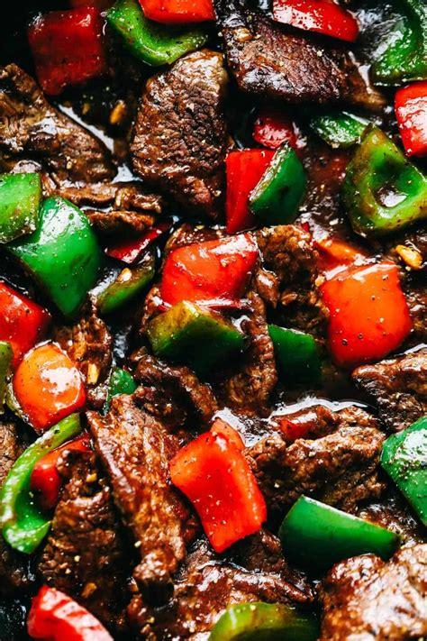 pepper steak stir fry  melt   mouth flank steak