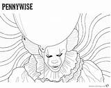 Pennywise Clown Coloring Pages Printable Psychedelic Drawing Background Outline Stephen Adults Penny Kings Wise Drawings Designs Getcolorings Sketch Paintingvalley Template sketch template
