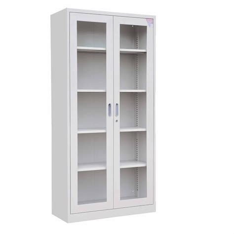 furniture white stain solid wood kitchen cabinet with glass door with gray polished metal