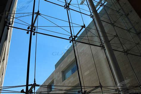spider glass curtain wall with prestressed tension rod