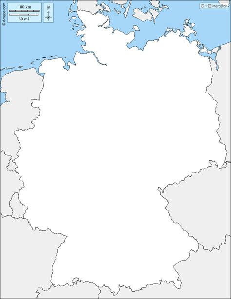 Entdecken sie unsere leistungen, die in projekten zusammenfließen. Germany free map, free blank map, free outline map, free ...