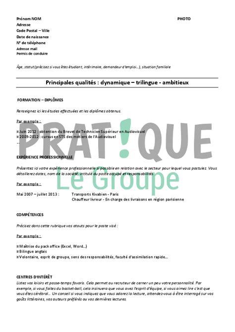 Cv Modèle étudiant by Resume Format Lettre Cv Exemple Gratuit