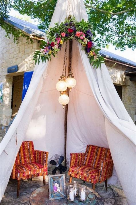 whimsical bohemian teepee wedding details deer pearl