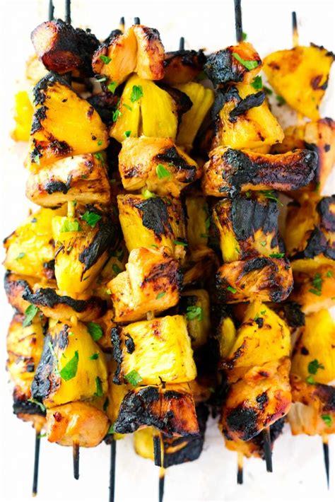 grilled hawaiian chicken  pineapple kabobs  damn delish