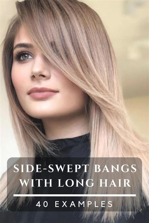 Beautiful hairstyles with side swept bangs for long hair