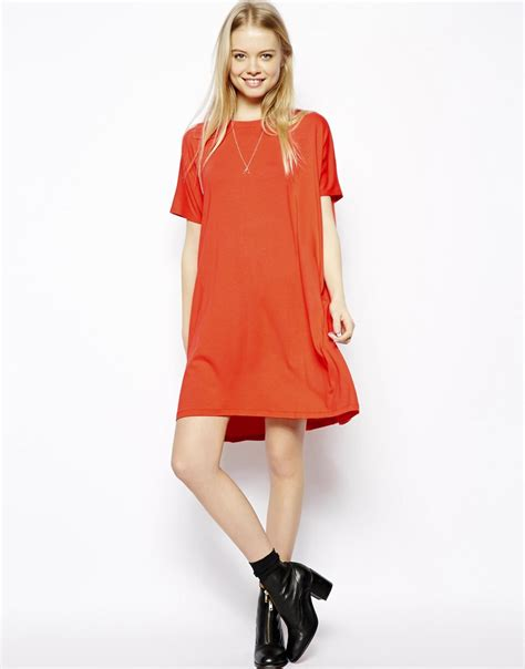 t shirt dresses lyst asos t shirt dress with sleeves in