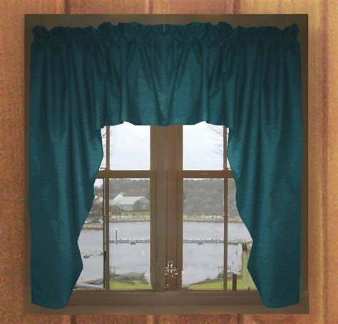 Solid Dark Teal Colored Swag Window Valance (optional