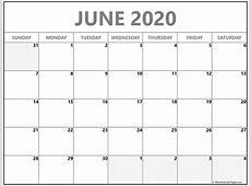 June 2020 blank calendar templates