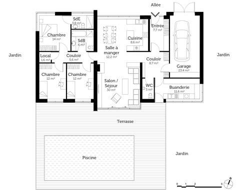 plan maison en l plain pied 3 chambres plan maison contemporaine de plain pied avec 3 chambres