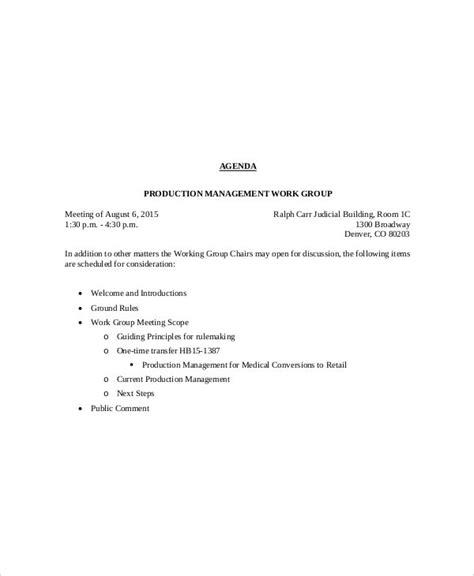 management meeting agenda templates  sample
