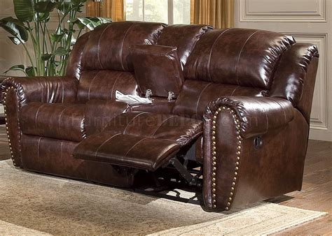 cognac brown bonded leather living room sofa wrecliner seats