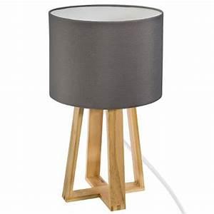 Lampe A Poser Scandinave : lampe poser en bois scandinave 35cm gris ~ Melissatoandfro.com Idées de Décoration