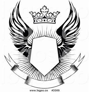Royalty Free Vector of a Black and White Winged Shield ...