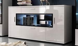 Meuble Haut Salon : buffet design blanc brillant meuble blanc moderne de salon de qualit ~ Teatrodelosmanantiales.com Idées de Décoration