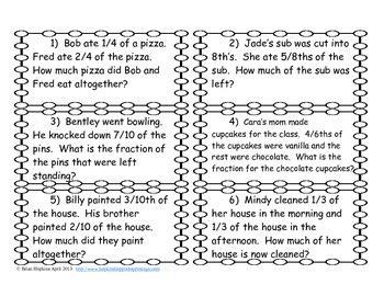 addition  subtraction fraction problem solving task