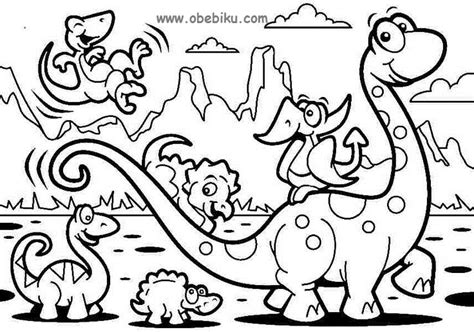 Ibu Menyusui Gambar Belajar Mewarnai Gambar Dinosaurus Obebiku