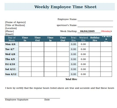 Timesheet With Meal Break Template by Weekly Timesheet Template For Multiple Employees Images