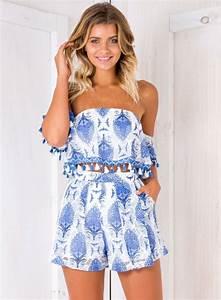 Womenu0026#39;s Strapless Short Sleeve Tassel Crop Top Shorts 2 Piece Outfit - ACHICGIRL.COM