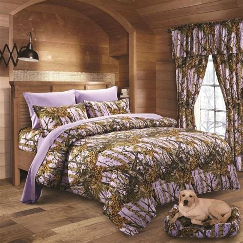 pc lavender camo comforter sheet and curtain
