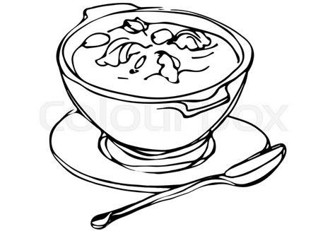 Kleurplaat Kom Soep by Vector Sketch Of A Bowl Of Soup With Herbs And Spoon Lying