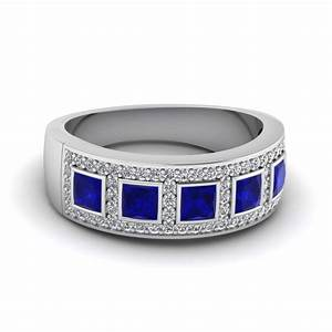 Blue sapphire and diamond necklace tags wedding ring for Sapphire wedding rings meaning