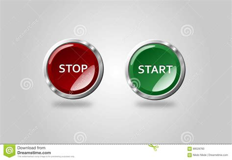 button stop start stock illustration of start 89528760
