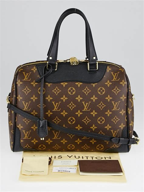 louis vuitton black leather  monogram canvas retiro nm