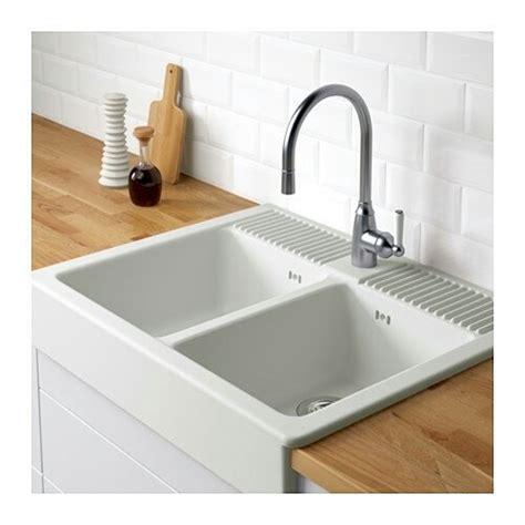 ikea double white sink ceramic kitchen domsjo  sale