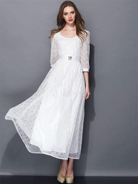 weißes kleid schwanger wei 223 es kleid aus seide mit illusion 196 rmeln milanoo