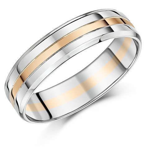 palladium and 9ct rose gold ring 6mm men s wedding ring ebay