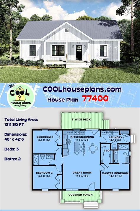 Country Style House Plan 77400 with 3 Bed 2 Bath in 2020