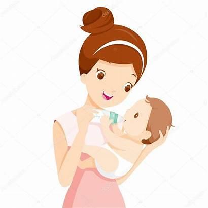Feeding Mother Mom Clipart Milk Bottle Vector