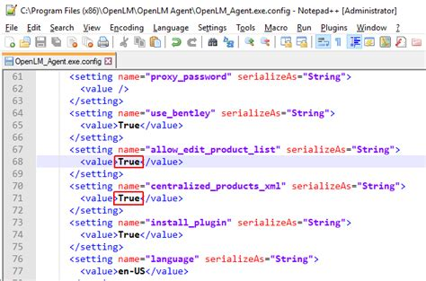 agent list applications configuring v4 manager flags edit allow true