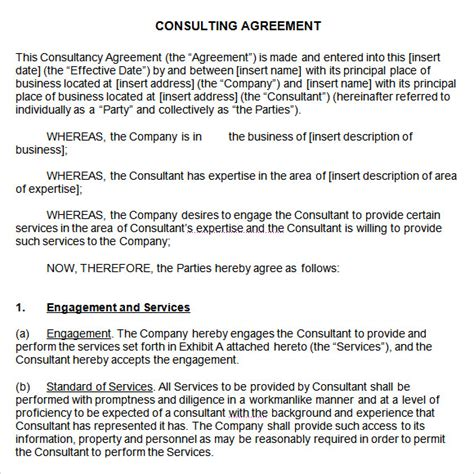 consulting agreement   samples examples format