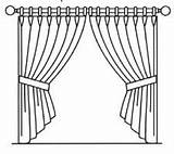 Curtain Curtains Template Close Coloring Arrangements Forms Common Sketch Pole Drawn sketch template