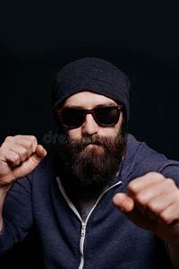Serious Man With Big Fists Stock Photo  Image Of