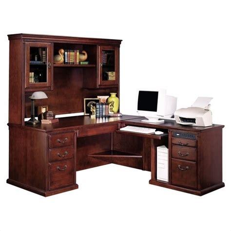 executive desk with hutch kathy ireland home by martin huntington club rhf l shaped