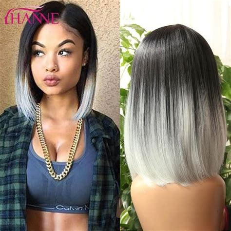Ombre Short Straight Heat Resistant Synthetic Hair Wig In