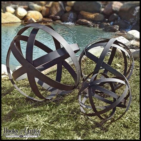 brown metal garden spheres set of 3
