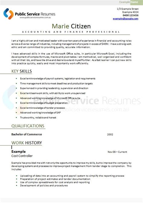 service executive resume 187 government resume
