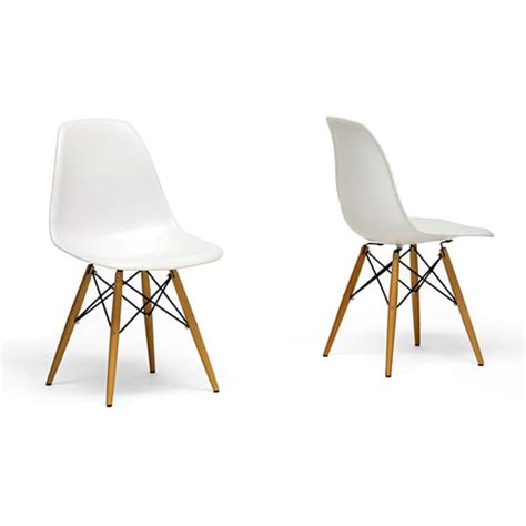 wood leg white accent chairs set of 2 12386393