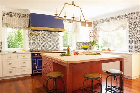 blue stove  hood eclectic kitchen