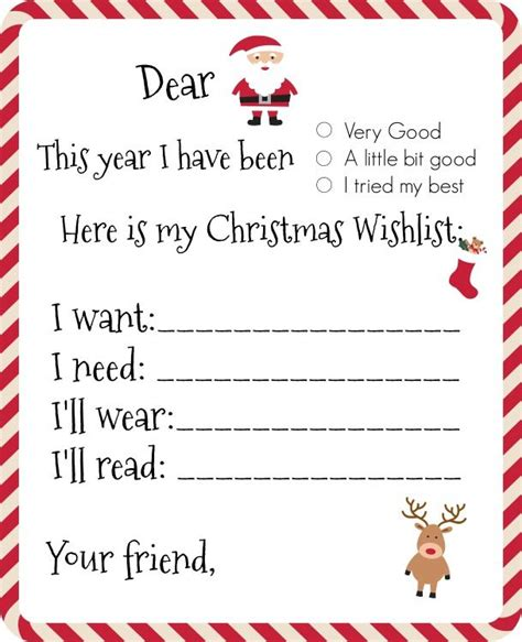 dear santa printable wishlist santa  list christmas