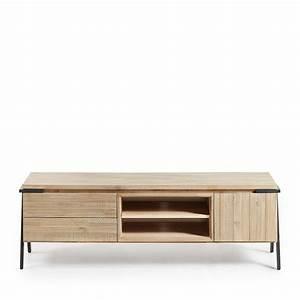 Meuble Tv Metal : meuble tv bois massif et m tal 2 tiroir 1 porte spike by drawer ~ Teatrodelosmanantiales.com Idées de Décoration