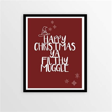 harry potter christmas quote art print happy christmas