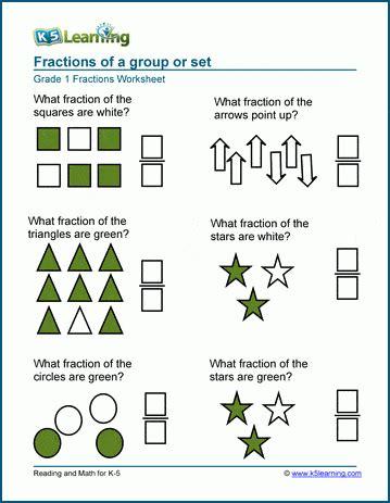 fractions   set  group worksheets  learning
