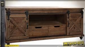 Meuble Tv Rustique : meuble tv de style rustique et indus bois et m tal 2 ~ Nature-et-papiers.com Idées de Décoration