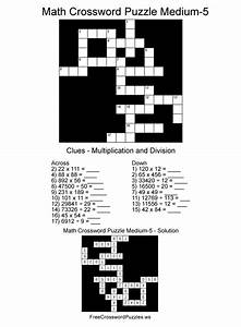 Math Crossword Puzzle Medium Five - Free Math Crossword ...